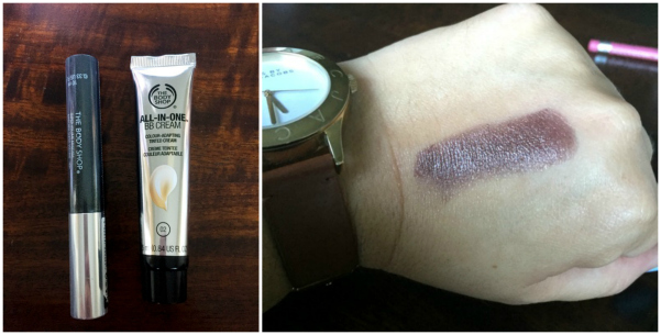 Body Shop products + lipstick swatch